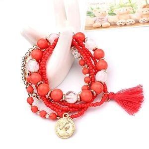 Jewelry - Boho Red Beaded Multilayer Tassel Coin Bracelet